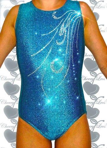 Holographic Blue Gemstone Gymnastics Leotard with Free ...