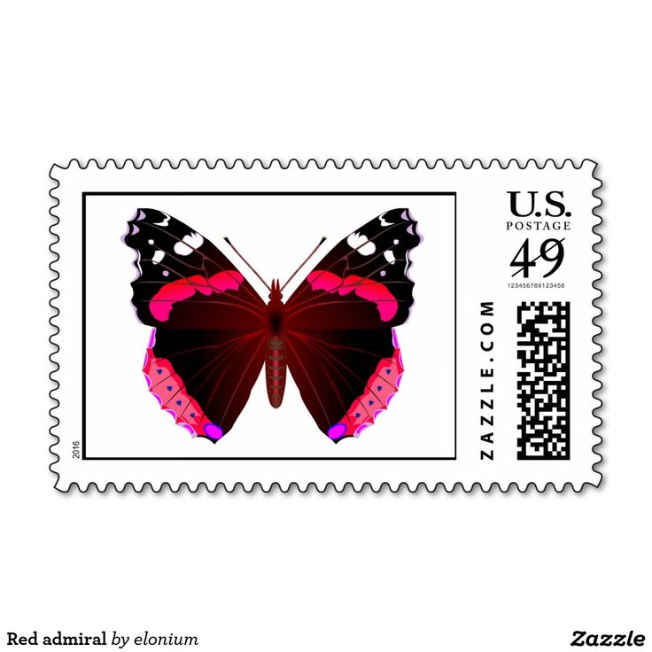 Red admiral postage stamp