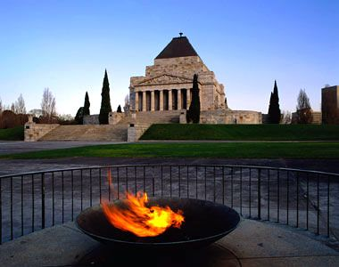 The Eternal Flame burns in front of the Shrine of Remembrance, the area's largest and most recognizable monument. Melbourne Australia
