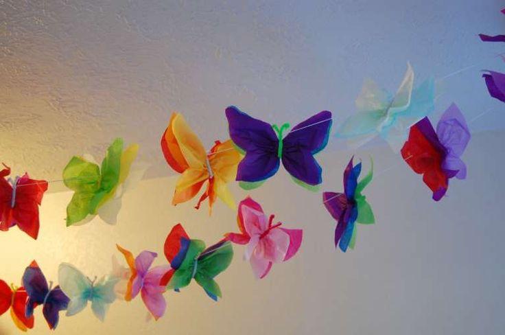 Ghirlande di carta - Farfalle di carta colorate.