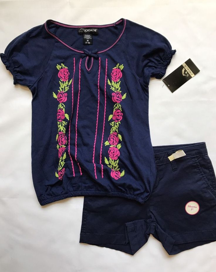Girls 2pc Jordache Blue Floral Top W Blue Chino Shorts Size 7/8 #Jordache #Everyday