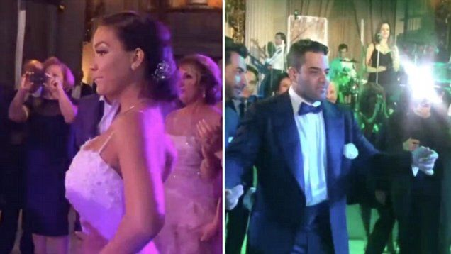 In happier times: Jessica Parido and Mike Shouhed on their wedding day. The Couple looked happier than ever as they danced in celebration of their marriage.