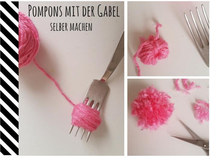 Tutorial: Mini-Pompons einfach mit einer Gabel selber machen.