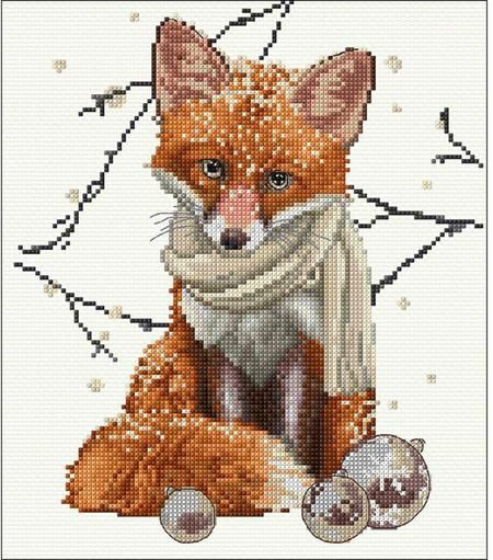 Thea Gouverneur Hey There Foxy Lady - Cross Stitch Kit. Cross stitch kit featuring a fox. This cross stitch kit contains Aida cloth, pre-sorted DMC floss, John
