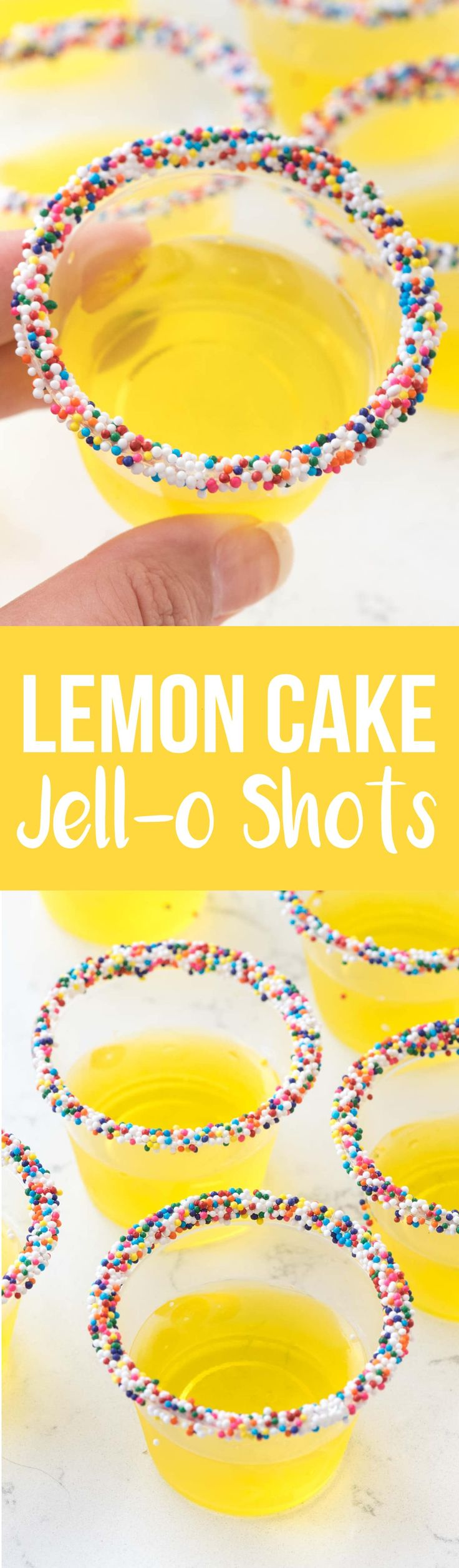 Lemon Cake Jello Shots taste like cake! This classic Jello shot recipe gets a twist with cake vodka and sprinkles for the perfect party shot! via @crazyforcrust