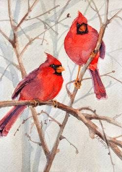 """Cardinal Brothers"" by Sharon Morgio: Two male cardinals in all their crimson glory provide a bright spot in a muted landscape.  This was painted in transparent watercolor to portray the luminous quality of their plumage in contrast to..."
