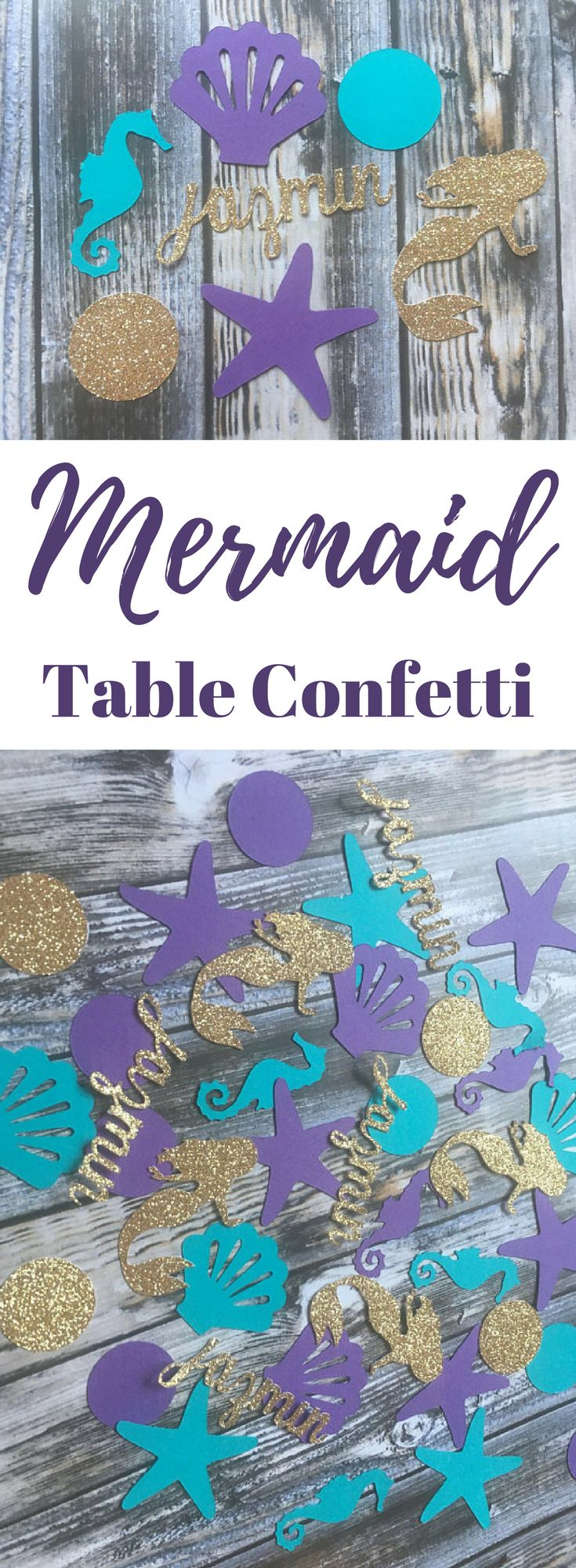 Personalized Mermaid Birthday Party Table Confetti