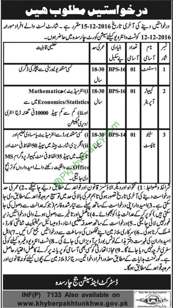 Jobs In District and Session Court Charsadda 28th November 2016