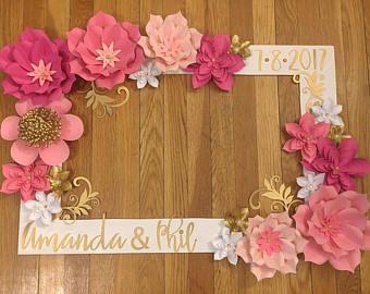 Pink and Gold Selfie Frame - Wedding Selfie Frame - Wedding Decorations - Wedding - Wedding Paper Flowers - Paper Flowers - Selfie Frame