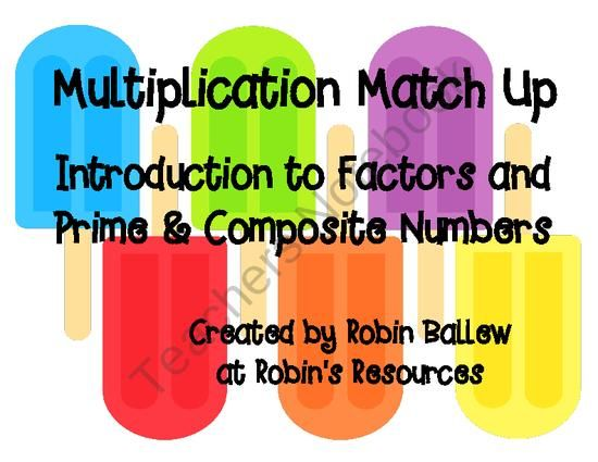 Multiplication Match Up Intro to factors and prime & composite numbers 4.OA4 from Robin's Resources on TeachersNotebook.com (39 pages)  - This set helps students see the connection between multiplication facts, factors, and whether a number is prime or composite. All facts for numbers 1-100 are included as well as header cards with numbers 1-100 for sorting.   I expect to use this as a cent