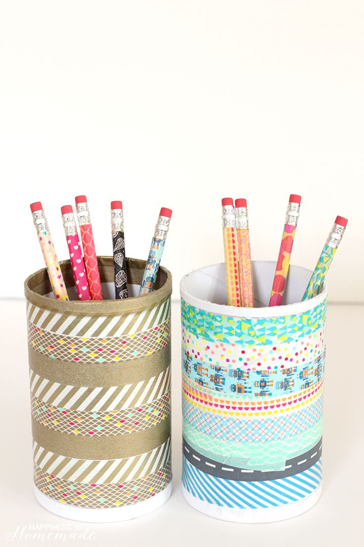 Dress up and personalize your back-to-school supplies with this quick washi tape craft that can be completed in under 15 minutes! It's time for another round of Craft Lightning, and this time we're featuring back-to-school crafts that can be made in 15 minutes or less! To make our desk pencil cups, I started with two empty cardboard …