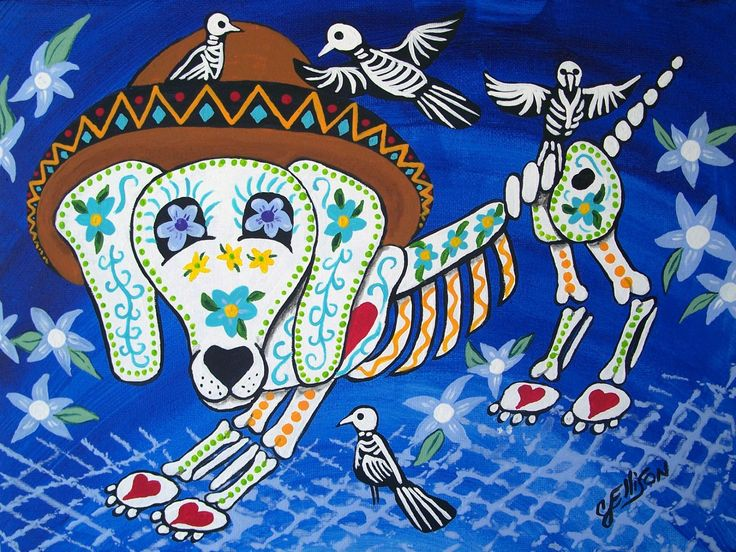 Print Folk Art Mexican Day of The Dead Dog Birds Skeleton Painting
