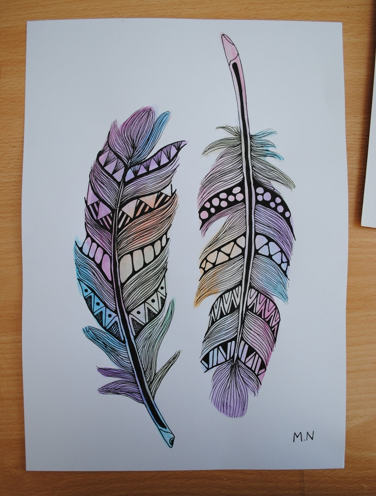 Original Feather Aztec Watercolour. I am hoping I can use a similar design to cover up the anchors on my wrists.