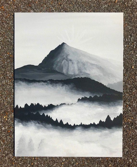 Items Similar To Hand Painted Foggy Black And White Mountain And Forest Scene Canvas Panel In 2020 Black And White Art Drawing Mountain Paintings Landscape Paintings