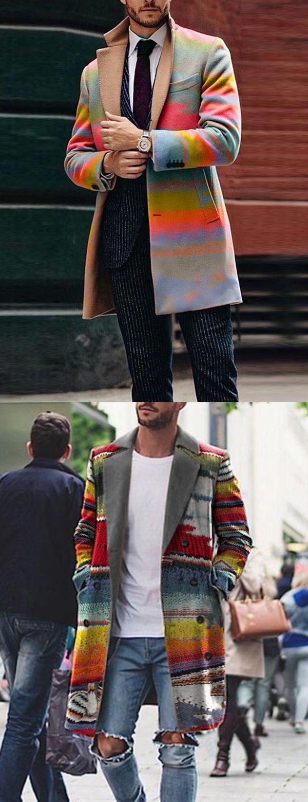 [New In] Business Rainbow Print Lapel Coat