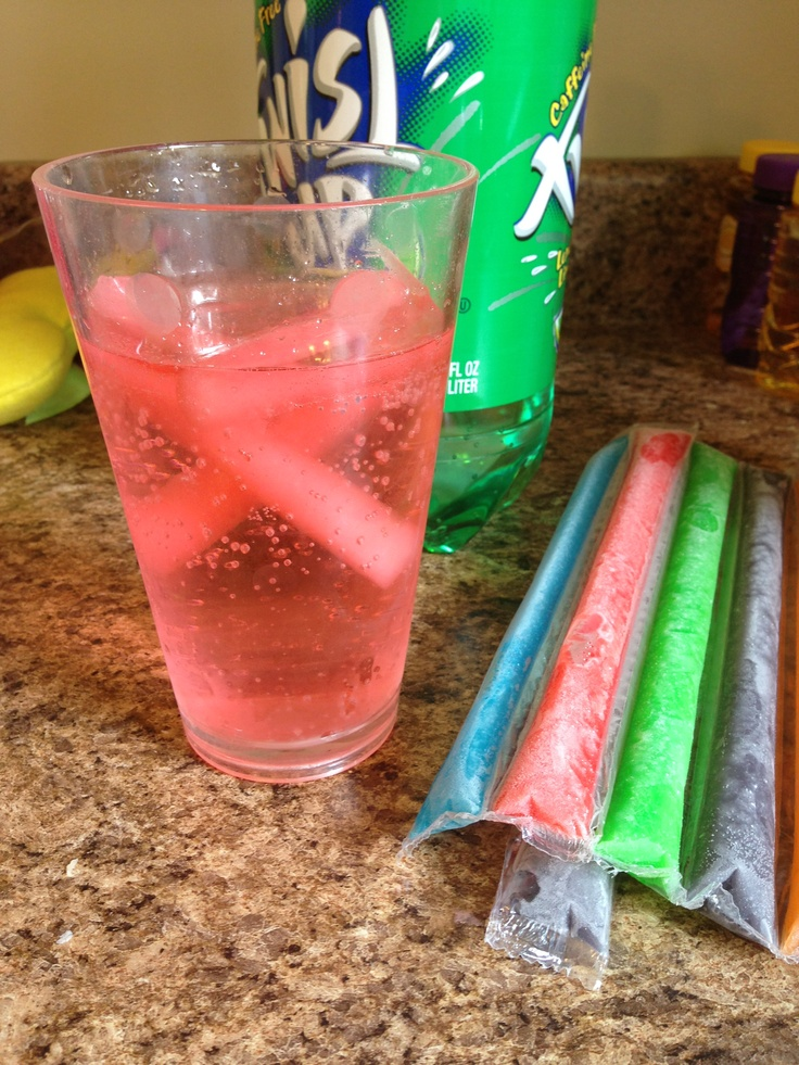 Instead of ice cubes which water down your beverage use frozen ice pops! Would be fun for birthday parties to let the kids pick their own creations with colors and flavors! Or add a little sweetness to an adult drink! Ooooh would be good in a glass of white or pink wine (or wine cooler!) too!