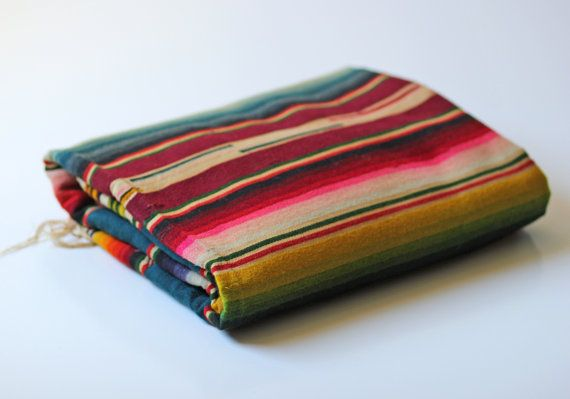 old multi colored wool saltillo blanket rainbow by ModishVintage