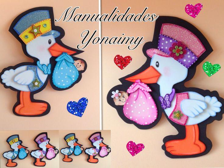 MANUALIDADES   YONAIMY:  CIGUEÑA PARA BABY SHOWER DE FOAMY O GOMA EV...