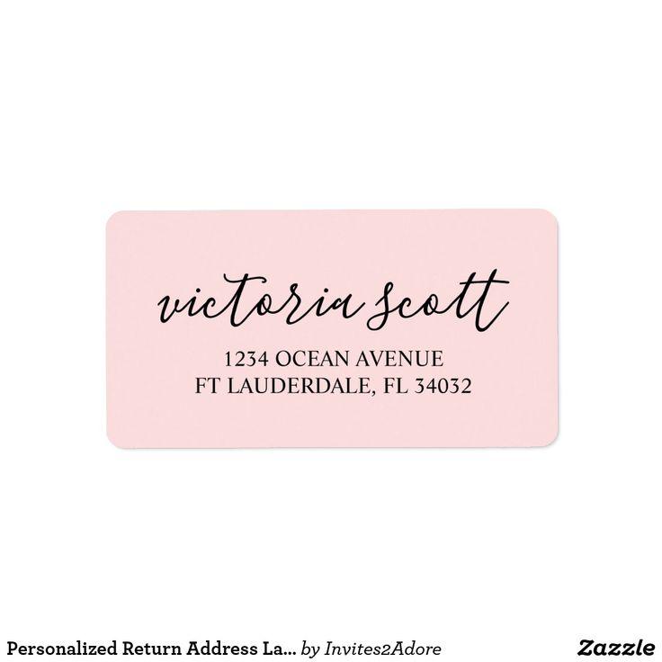 Personalized Return Address Labels   Modern Pink