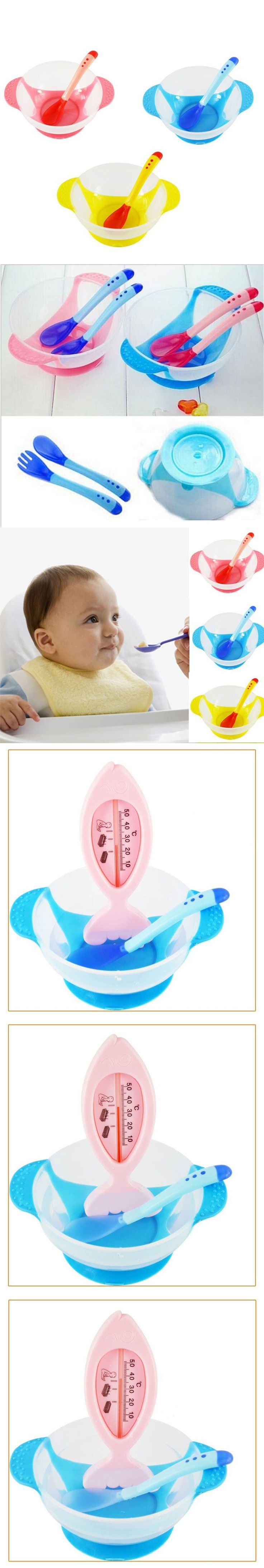 Toddler Temperature Sensing Feeding Lid Training Bowl with Spoon Cartoon Binaural Baby Feeding Tableware Child Plate Sucker Bowl
