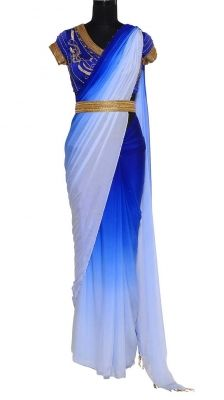 Royal Blue Shaded Chiffon Saree | Strandofsilk.com - Indian Designers