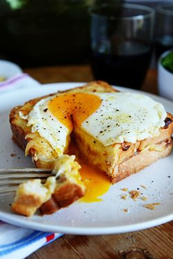Croque Madame - French-style toasted ham and cheese topped with a fried egg, a recipe on Food52