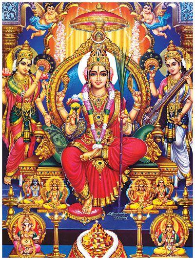 Mata Parvati , our mother goddess Lalitha Tripura Sundari is sitting majestically on her throne while Goddess Lakshmi sings song to praise her and Goddess Saraswathi plays her veena for her.