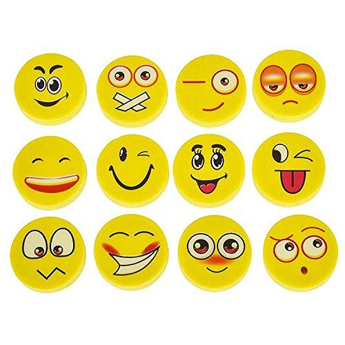 """Lot Of 150 Assorted Round Emoji Face Erasers (150 Pack)  Lot of 150 approx. Size 1""""  Round emoji eraser design  Assorted emoji's ship at random  Made of rubber  Great party favor or class prize!"""