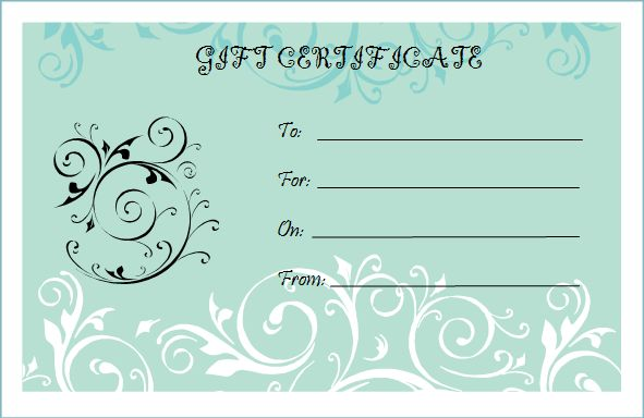 microsoft bridal shower gift certificate templates | gift certificate template free fill-in | Blank Gift Certificate ...
