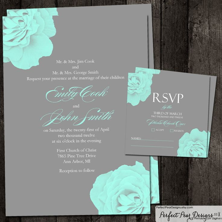 Elegant Rose Wedding Invitation and RSVP set - Teal Blue and Grey - Set can be customized to any Color Theme. $25.00, via Etsy.