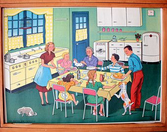 Vintage  Affiche scolaire double face des années 1950-60