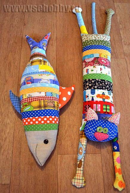 лоскутные подушки - игрушки кот и рыбка                                                                                                                                                      More