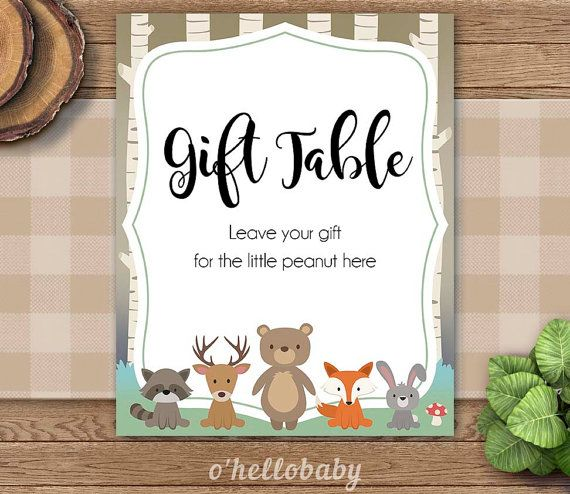 Woodland Animals Baby Shower Gift Table Signs Cards And Gifts Signs    Gender Neutral Baby Shower   Woodland Baby Shower   008