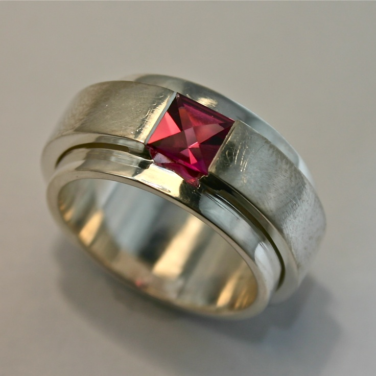 CONTEXT CUT Pink Tourmaline in sterling silver ring