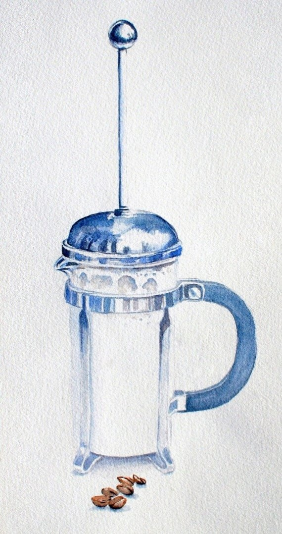 french press in watercolor