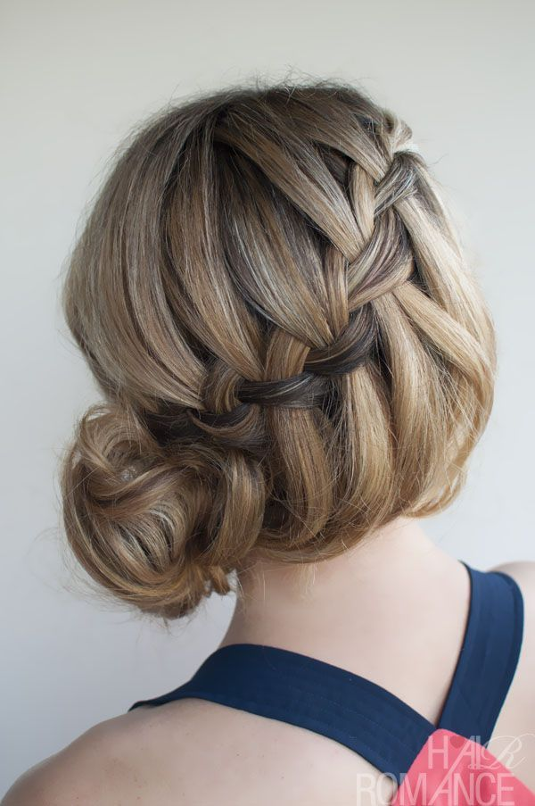 messy braid updo hairstyles | Picture of Waterfall Braided Bun - Elegant Formal Updos for Women ...