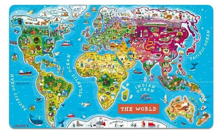 Janod - Magnetic World Puzzle (English)