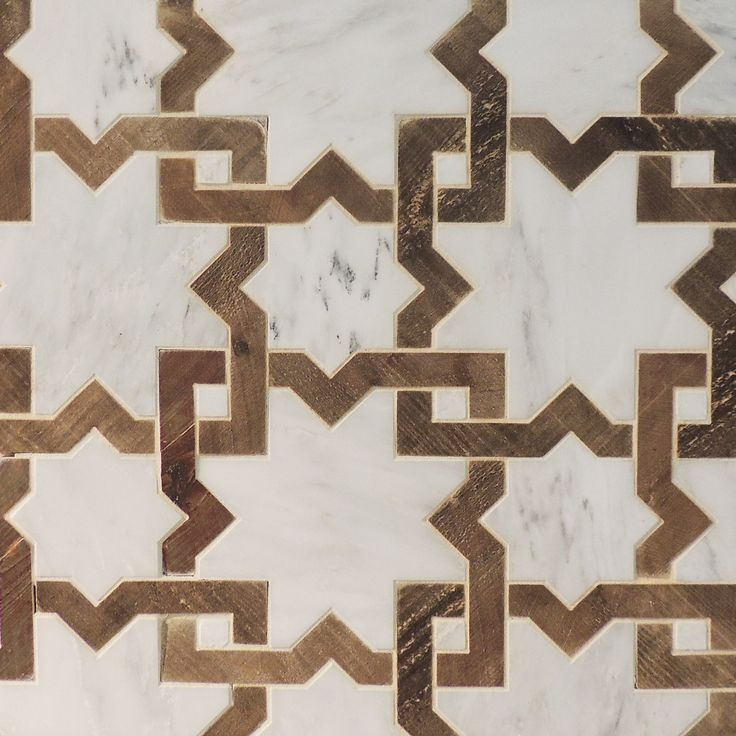 HARMONIES PROJECT: tiles - French oak and Calacatta marble mosaic moroccan pattern marble/wood tile