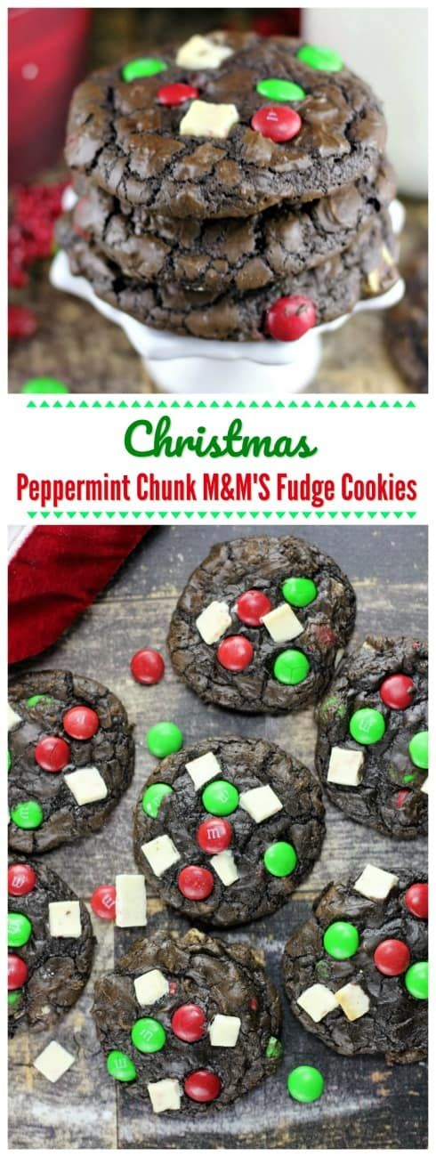 Christmas Peppermint Chunk M&Ms Fudge Cookies are everything you could ever hope for in a festive Christmas cookie! White chocolate peppermint chunks, pretty green and red M&M'S, mini chocolate chips all neatly wrapped in chocolate fudge cookies.