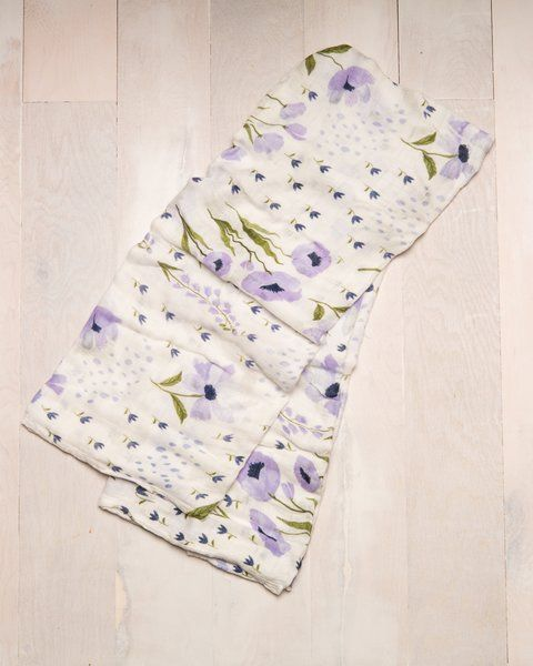 Little Unicorn Bamboo Swaddle- 2016 Collection- Blue Windflower