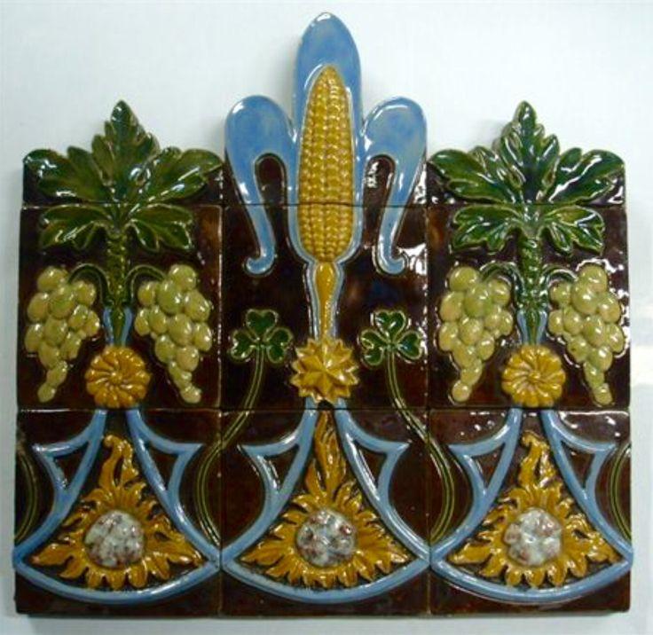Rafael Bordalo Pinheiro Majolica Tile Panel 1893-1905