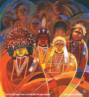Native American paintings by Southern Cheyenne artist Merlin Little Thunder, one of the influential figures in the contemporary Oklahoma Indian Art Movement. kp