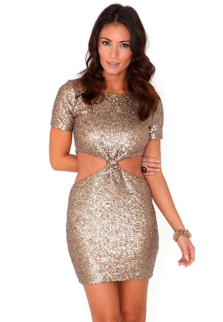 Kaliyah Sequin Cut Out Knot Dress In Gold- Can't get enough of glitter at the moment... #MGWinterWardrobe