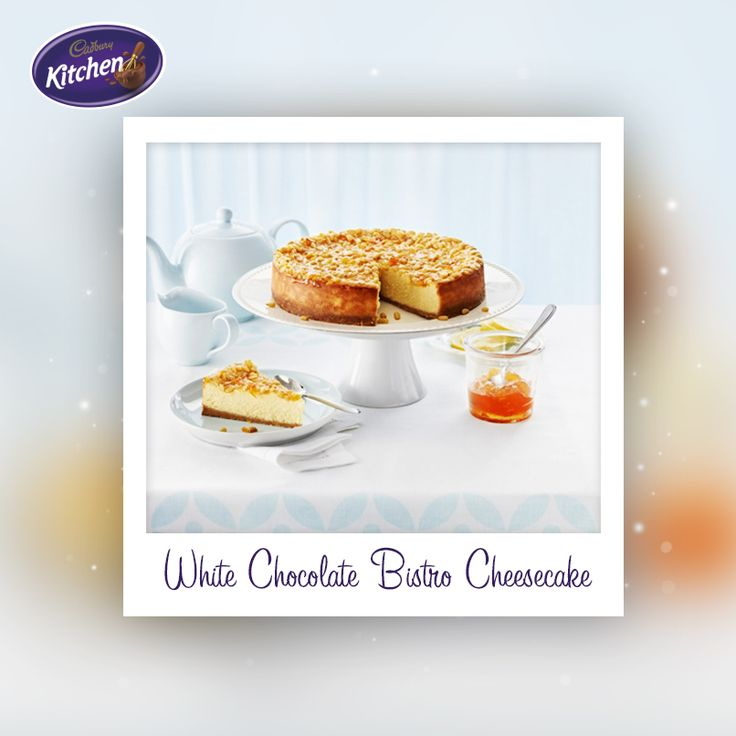 Making the most of the holidays? This White Chocolate Bistro Cheesecake is a jaw-droppingly good addition to a weekend BBQ! Serve with pine nuts and apricot glaze for a true taste of summer.  #CADBURY #cheesecake #cheecakerecipe #bbqrecipe #dessert #chocolate #summer