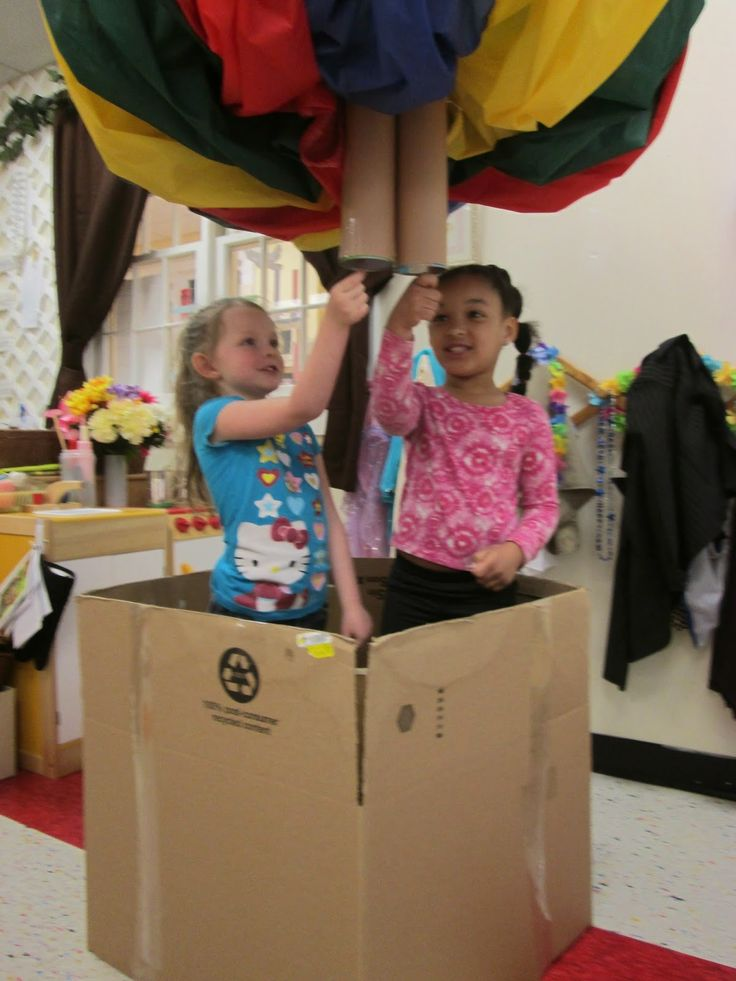 Exploring Through the Eyes of Classroom 5A: Up, Up and Away! - Child size hot air balloon, dramatic play, air ways, Reggio Emilia inspired preschool classroom