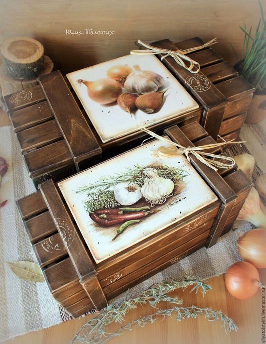 Кухня ручной работы. Ярмарка Мастеров - ручная работа. Купить Набор ящиков для овощей 2. Handmade. Коричневый, набор для кухни