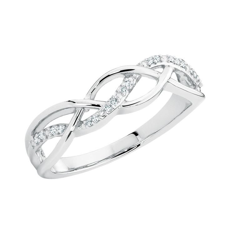Enjoy the simple femininity of this sterling silver ring. Showcasing a 1/20 carat total weight diamond set braided pattern, this ring will be the finishing touch to any outfit.