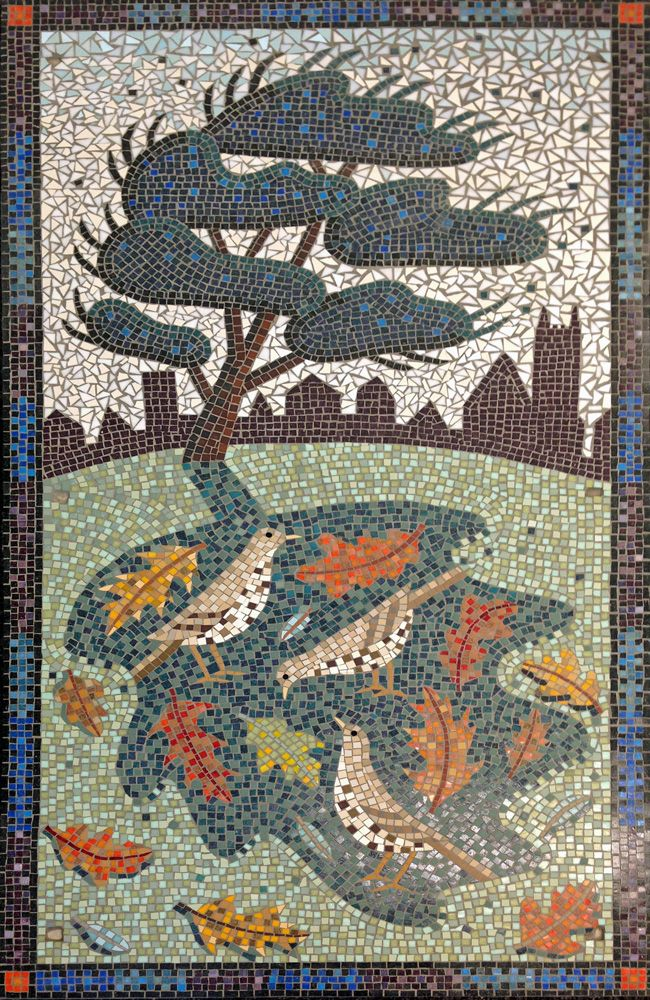 mosaic at downs park road hackney london mistle thrush leaves