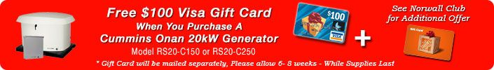 Cummins Onan Visa Gift Card Giveaway, For a limited time get a free $100 visa gift card with select Cummins Onan Generators see site