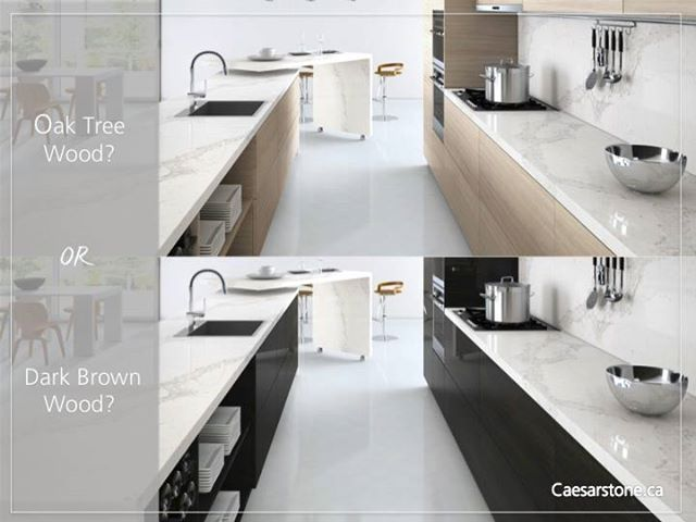 Which colour cabinet looks best with the 5131 Calacatta Nuvo countertops? Oak tree wood? or, dark drown wood?   Play with your dream, with 'The Visualiser': http://www.caesarstone.com/en/Pages/The-Visualiser.aspx